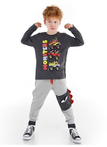 Denokids Monster Race Erkek Çocuk Pantolon Takım Gri